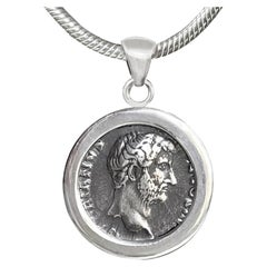 Hadrian Roman Coin 2nd Cent.AD Sterling Silver Pendant; Rear Goddess Fortune