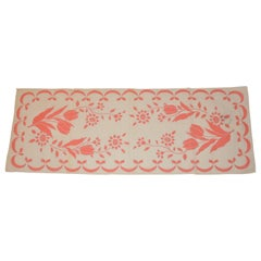 """Hadson Detailed Ivory & Coral  """"Embroidered Print"""" Cotton Tablecloth"""
