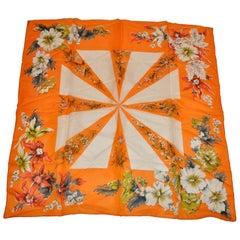 "Hadson ""Red & Tangerine Bursting Floral Border"" Silk Scarf"