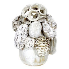 Haeckel Contemporary Glazed White Ceramic Sculpture by Trish DeMasi