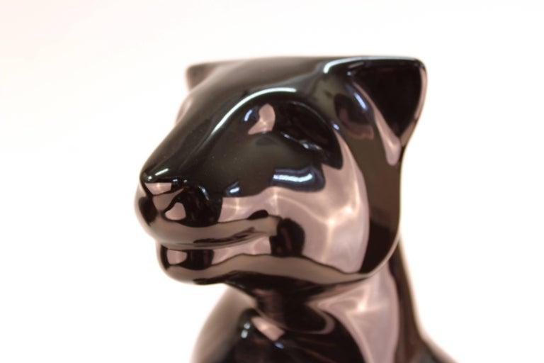 Haeger Art Deco Style Ceramic Black Panther For Sale 2