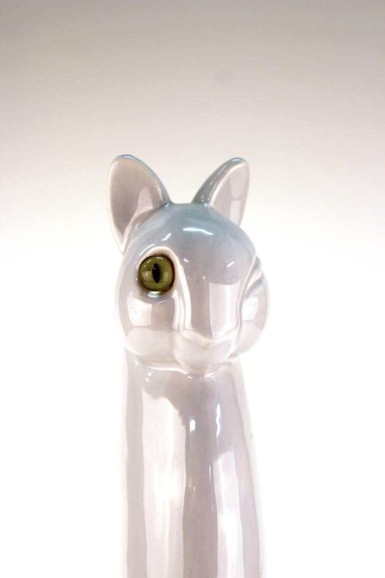Haeger Ceramic Cat with Glass Eye For Sale 2