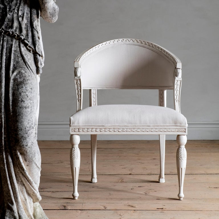 Haga, a fine reproduction Gustavian barrel back armchair is influenced by a Gustavian armchair from our private collection that is attributed to Stockholm master Ephraim Stahl, (1767-1820). Supplier to the Royal Court and one of the most