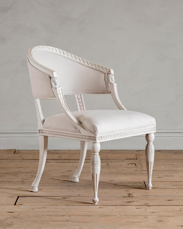 Hand-Crafted Haga, Gustavian Style Armchair For Sale
