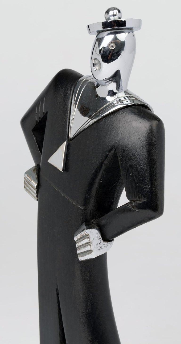 Hand-Crafted Hagenauer Austrian Art Deco Chrome and Ebonized Wood Jolly Sailor Figure For Sale