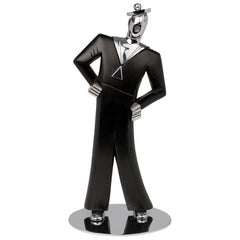 Hagenauer Austrian Art Deco Chrome and Ebonized Wood Jolly Sailor Figure