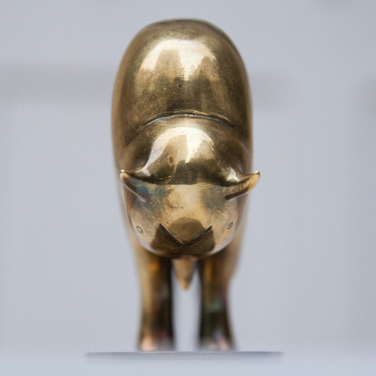 Hagenauer Brass Bull Paperweight Model 1019 Signed For Sale 2