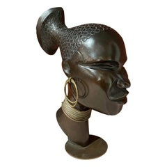 Hagenauer Carved Wood with Bronze Base Sculpture Head of African Woman, 1930