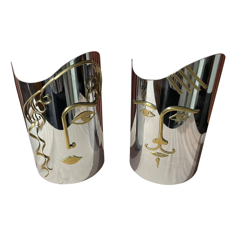 Hagenauer Male and Female Wall Masks For Sale