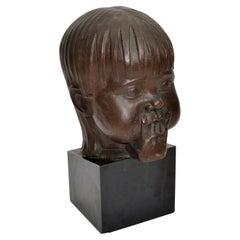 Hagenauer Manner Patina Bronze & Wood Bust, Child Head Sculpture Sucking Fingers