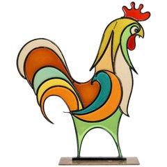Hagenauer Rooster Austrian Midcentury Brass Resin 1940s-1950s Art Deco