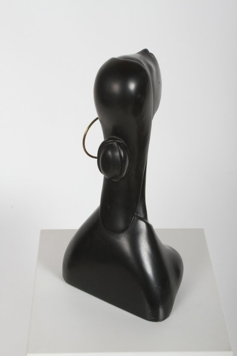 Hagenauer Style Nude Black African Female Bust with Brass Earring For Sale 2