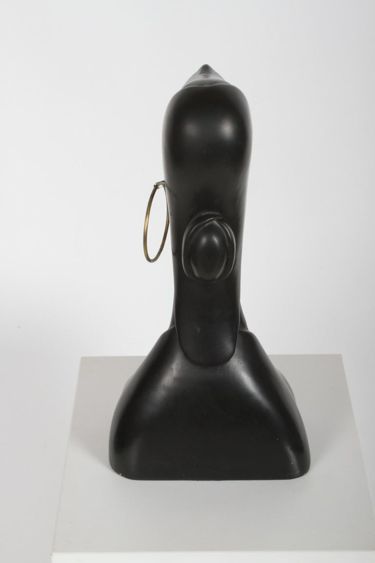 Hagenauer Style Nude Black African Female Bust with Brass Earring For Sale 3