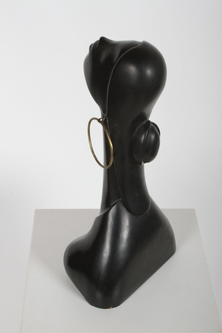 Hagenauer Style Nude Black African Female Bust with Brass Earring For Sale 4