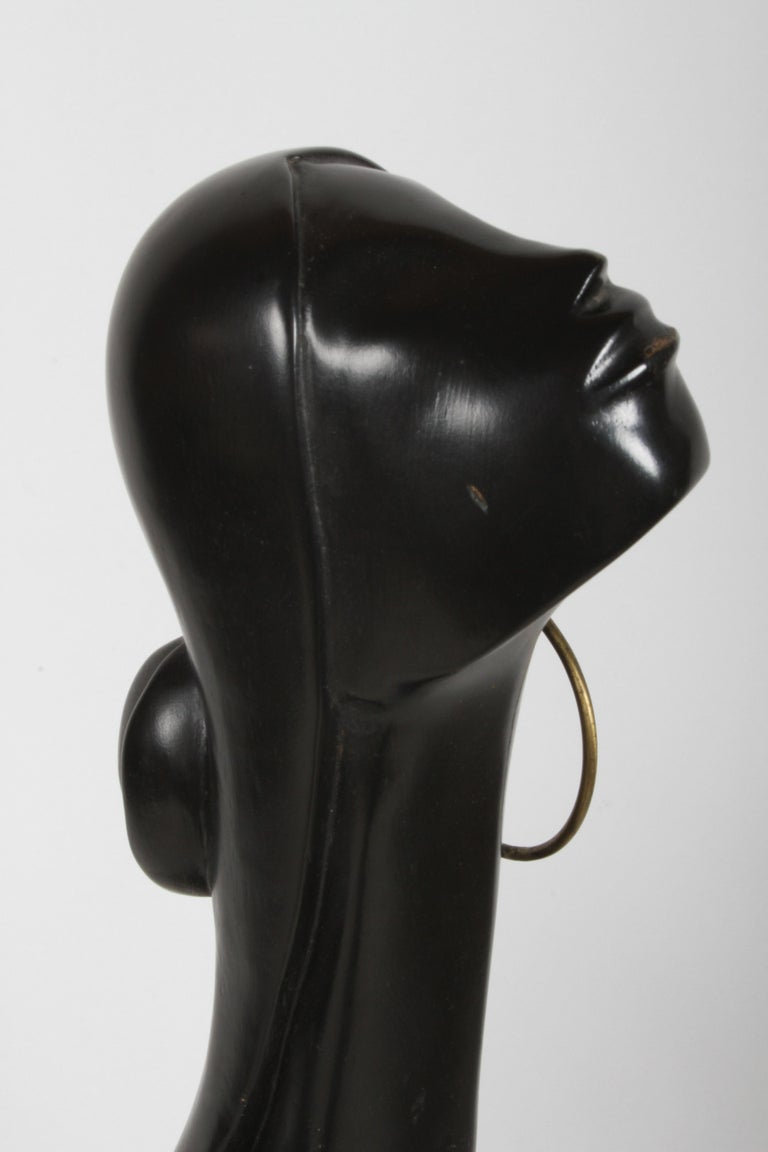 Hagenauer Style Nude Black African Female Bust with Brass Earring For Sale 7