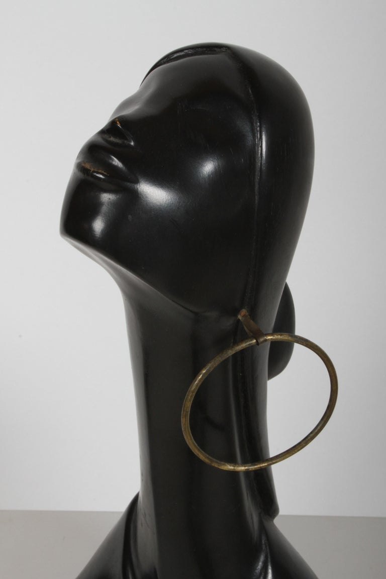Mid-Century Modern Hagenauer Style Nude Black African Female Bust with Brass Earring For Sale