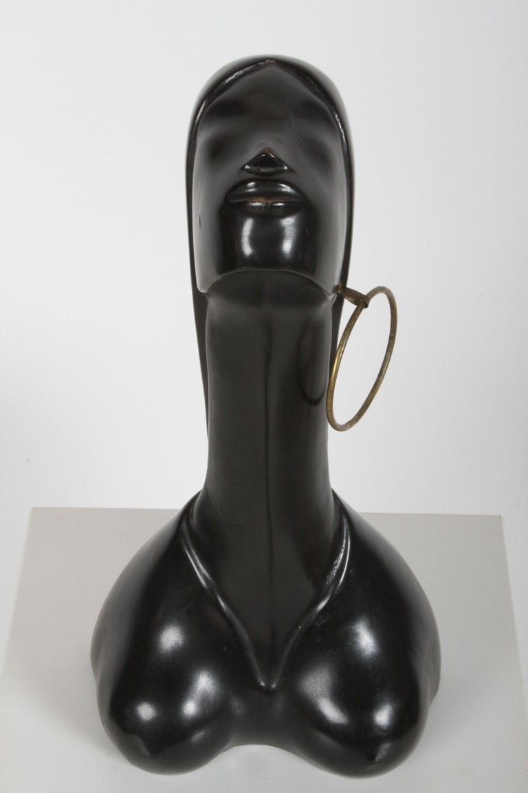 Unknown Hagenauer Style Nude Black African Female Bust with Brass Earring For Sale