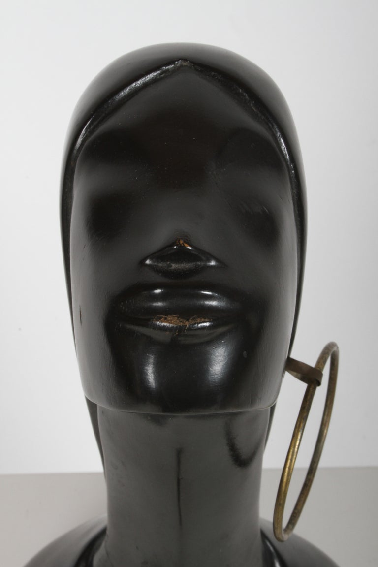Wood Hagenauer Style Nude Black African Female Bust with Brass Earring For Sale