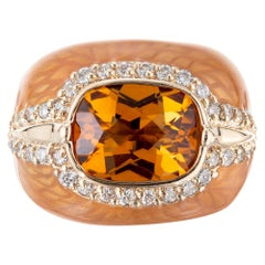 Haggai 3.00 Citrine Diamond Enamel Gold Cocktail Ring