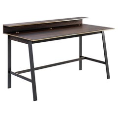 Hagler Desk with African Ebony Top and Polished and Patinated Brass Base