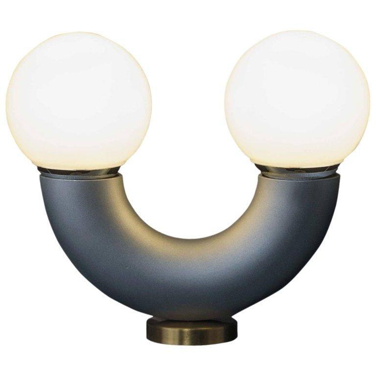 Minimalist Haha Table Lamp, 21th Century Contemporary Modernist Aluminium Tube Anodized  For Sale