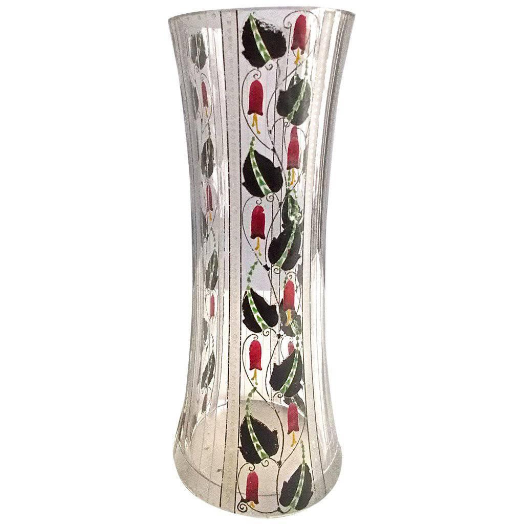 Haida Secessionist Wiener Werkstatte Hand-Painted Glass Vase