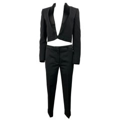 Haider Achermann Black Silk Tuxedo Blazer and Wool Pants Suit Set