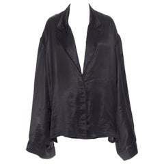 HAIDER ACKERMANN 100% polyester black wide drape sleeve button kimono shirt FR38