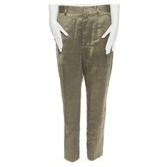 HAIDER ACKERMANN 100% polyester green dropped crotch cropped pants  FR36