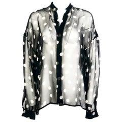 Haider Ackermann Black and White Silk Polka Dots Sheer Button-Down Shirt Size 34