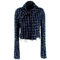 Haider Ackermann Blue & Black Boucle Cropped Jacket - Size US 6