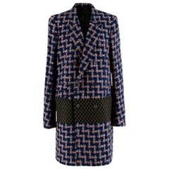 Haider Ackermann Blue Tweed Double Breasted Coat - Size US 8