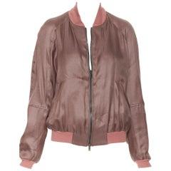HAIDER ACKERMANN dusty pink rayon silk blend zip up bomber jacket FR34 XS