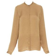 HAIDER ACKERMANN gold hammered crinkled collarless oversized shirt FR38