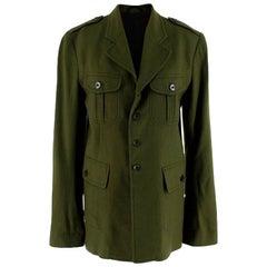 Haider Ackermann Green Military Inspired Wool Jacket - Size US 4
