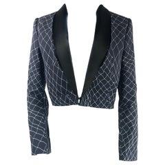Haider Ackermann Navy and Black Tuxedo Blazer Jacket Size 38