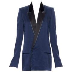 HAIDER ACKERMANN navy blue peak satin collar single button boxy blazer FR34