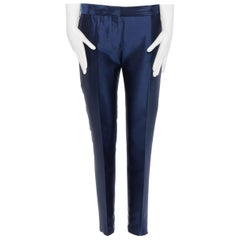 HAIDER ACKERMANN navy blue wool silk blend cropped trousers pants FR38 32""