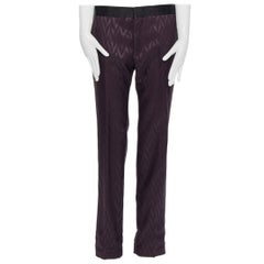 HAIDER ACKERMANN purple chevon jacquard wool silk silk band trousers pants S