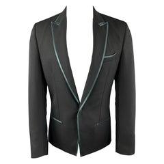 HAIDER ACKERMANN Size 38 Black Wool Green Trim Peak Lapel Sport Coat