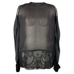 HAIDER ACKERMANN Size 4 Black & Brown Lace Panel Silk Blouse
