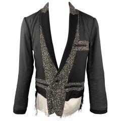HAIDER ACKERMANN Size 40 Black Mixed Fabrics Peak Lapel Jacket