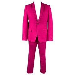 HAIDER ACKERMANN Size 42 Raspberry Wool Notch Lapel Suit