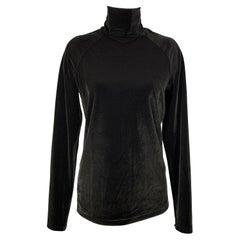 HAIDER ACKERMANN Size L Black Velvet Polyester Turtleneck Pullover