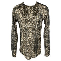 HAIDER ACKERMANN Size M Black & Taupe Animal Print Wool / Nylon Raglan Pullover