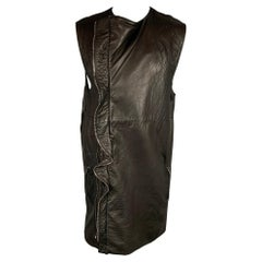 HAIDER ACKERMANN Size S Black Leather Double Zipper Long Vest