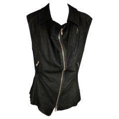 HAIDER ACKERMANN Size S Black Suede Zip Up Vest