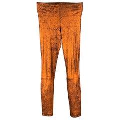 HAIDER ACKERMANN Size S Copper & Black Stretch Crackled Leggings