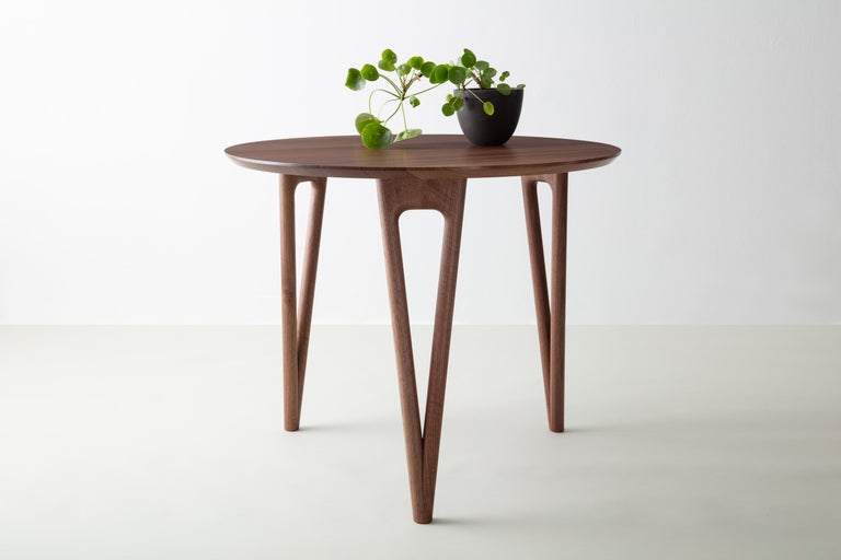 Contemporary Hairpin Dining Table, Solid Wood, Made to Measure Shapes & Size, Handmade in USA For Sale