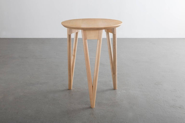 Modern Hair Pin Side Table, Round Maple Hardwood For Sale